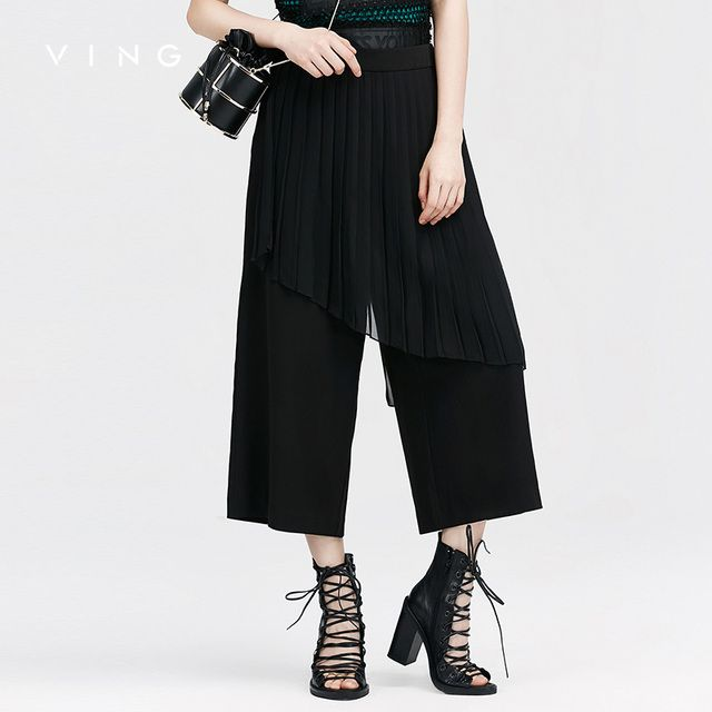 VING Ankle-Length Pants 2017 Summer Wommen Purity High-Waisted OL Style Pleated Wide Leg Pant