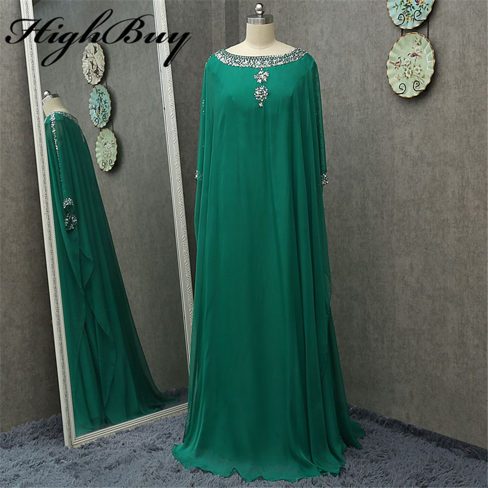 HighBuy 2017 Caftan Long Dubai Muslim Prom Dresses with Cape Arabic Turkish Evening Dresses Islamic Clothing Formal Party Gowns