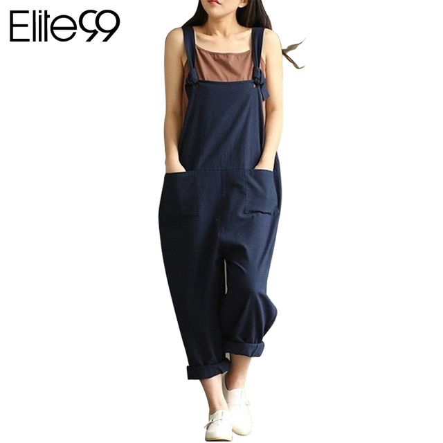 Elite99 2017 Fashion Women Autumn Loose Strap Dungaree Casual Cutton Pockets Tank Jumpsuits One Piece Overalls