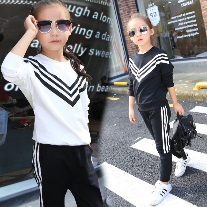 Girls Sports Suits Striped Tracksuits For Girls Clothing Sets Long Sleeve Cotton Sportswear Kids Outfits 2 4 6 8 10 12 Years
