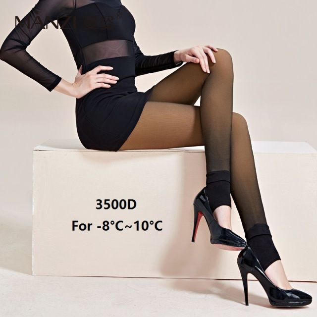 MZ87197 MANZI New arrival High quality Fashion Women's 3500D Natural Satin Sheer Stirrup Tights warm for winter pantyhose