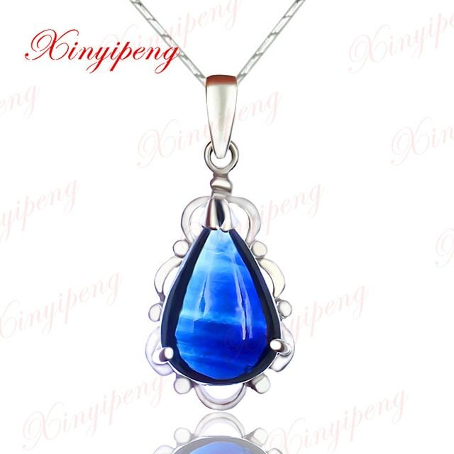 18k white gold with 100% natural sapphire pendant female Water droplets form  Fine jewelry and personality blue