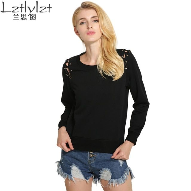 2016 Rushed New Regular Knitted O-neck Fashion Cotton autumn Sweatshirt Women Hoodies Shoulder straps woman sweatshirts pullover