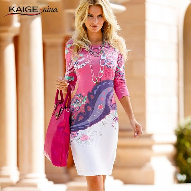KaigeNina New Fashion Hot Sale Women Flower Natural Simple Printing Cloth O-Neck Mid-Calf Chiffon Dress 1181