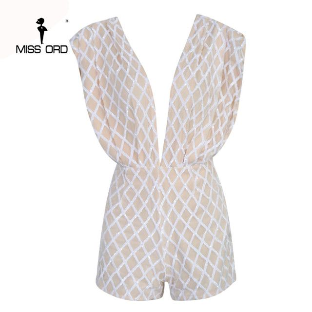 Free shipping  Missord  2018  Sexy Deep-V front and back Sleeveless grid sequin playsuit  FT4639-1