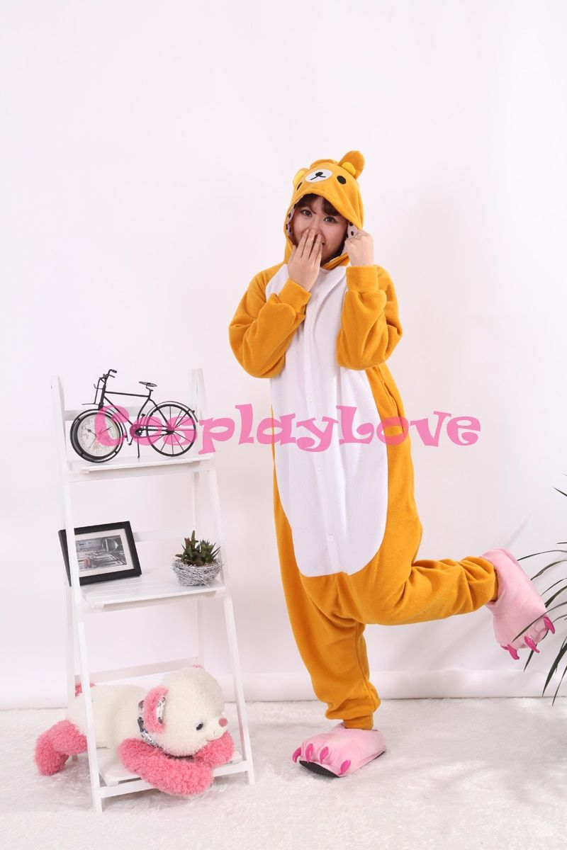 Rock Easy Bear Pajamas Animal Cosplay Costume Coral Girls Boys Adult Kid Pajamas Onesies Cartoon Halloween Sleepwear Sleepsuit