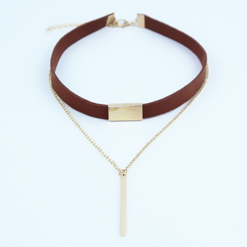 2017 New Black Brown Velvet Choker Necklaces Jewelry square Gold Colour strip Statement leather Necklaces Collar collier femme