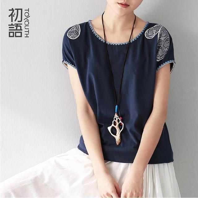 Toyouth 2017 Summer Clothing Women Minium Blue T-Shirts Pattern Printed Short Sleeve Casual Loose T-Shirts Ladies Tops