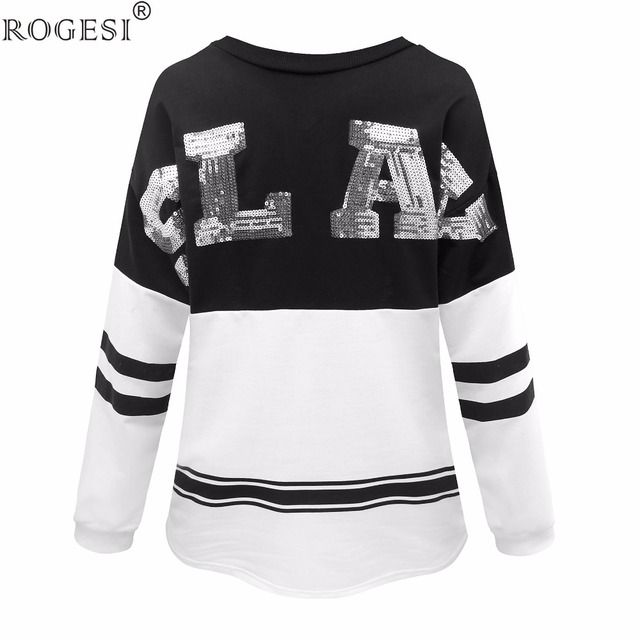 Rogesi 2016 New Casual Women T Shirts  Glitter Long Sleeve Round Neck Famous Designer Women's Clothing American Apparel
