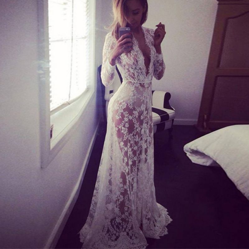 Women Floor-Length Black White Lace Dress Adjust Waist Sexy See Through Floral Vestido