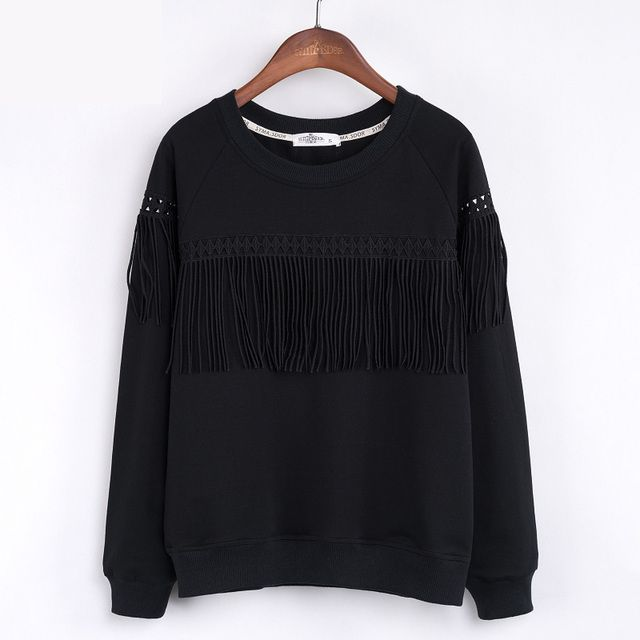 New Women's Sweatshirt Autumn 2016 Fashion Casual Loose O-neck Long-sleeve Solid Tassel Patchwork Pullover Sweatshirt Female