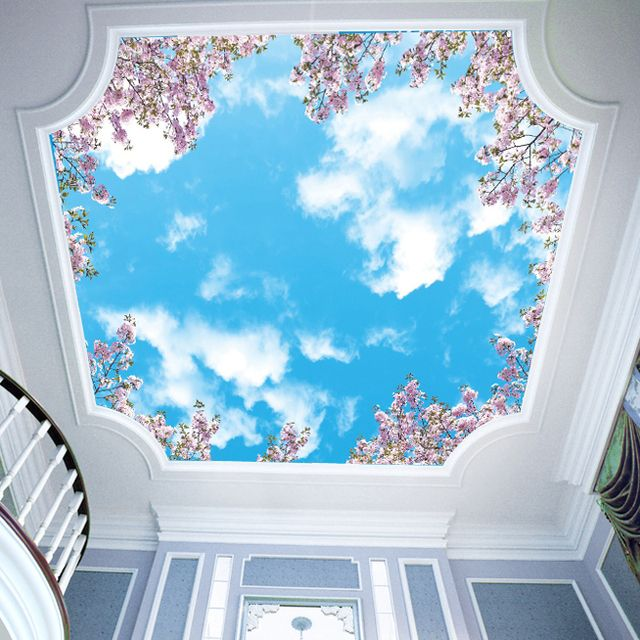 Modern romantic cherry tree sky ceiling 3d stereo wallpaper mural of non-woven wall paper
