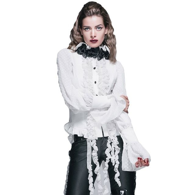Steampunk Women Chiffon White Blouses 2017 Gothic Punk Roses Tie Top Shirt Puff Sleeve Cotton Blouse Plus Size Women Clothing