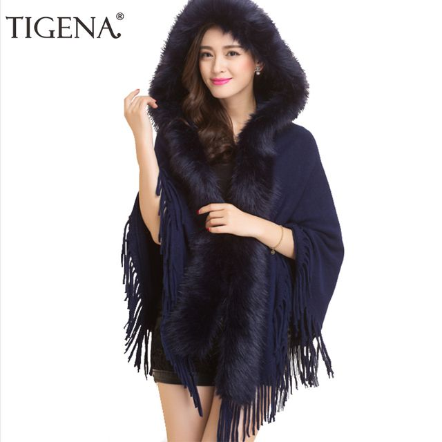 Hot Sale Cardigan Women 2016 Autumn Winter Fringe Poncho Women Sweater With Fur Tassel Knitted Cardigan Female Blue Black White