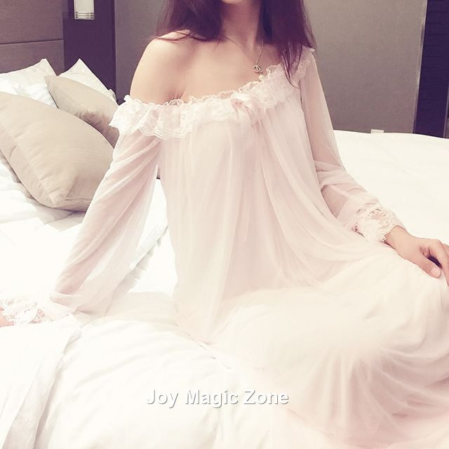 Free shipping L951 2016 new arrival summer cotton women's nightgown one piece princess pink sleep dress o-neck sleepwear