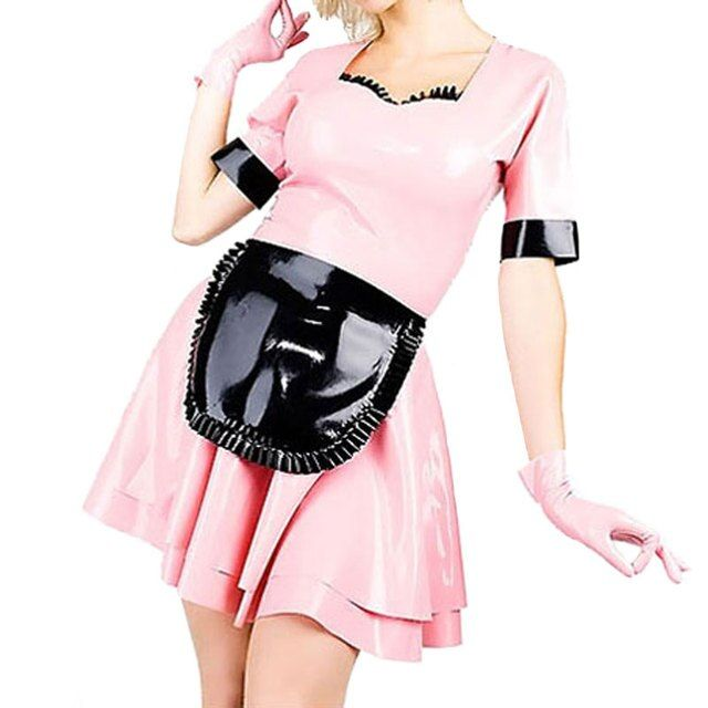 Summer Dress Sexy Lolita Latex Maid Dress for Women Pink and Black Fetish Large Size Rubber Dresses Vestidos LD014
