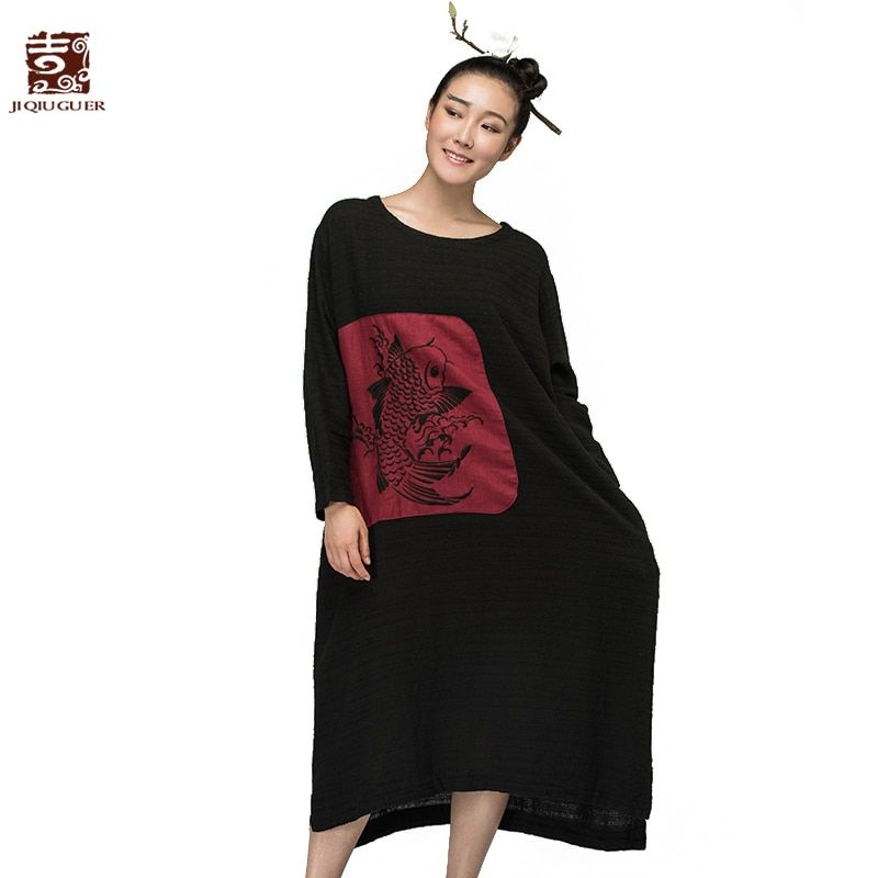 Jiqiuguer Women Embroidery PatchWork Dress Vintage Plus Size Solid black Full Sleeve O-neck Casual Summer Lady Vestidos G153Y026