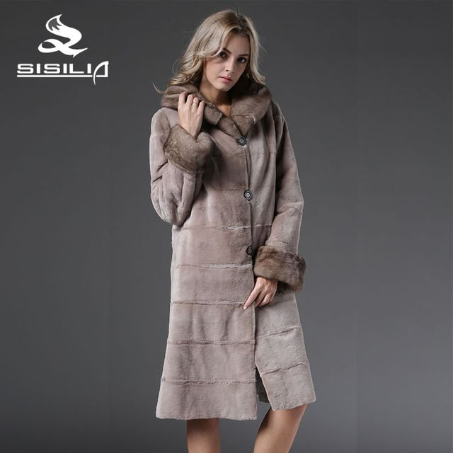 SISILIA  2016 NEW STYLE FUR PARKA CHINA MINK FUR COAT REVISIBLE WEARING 100% NATURAL MINK FUR COAT HIGH QUALITY SELL WELL
