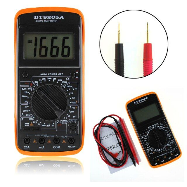LCD Display Digital Multimeter Electric Handheld Tester Portable AC DC Ammeter Voltmeter Ohm Meter with 2 Leads