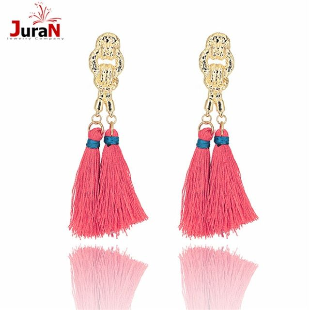 JURAN New Metal Vintage Handmade Jewelry Bohemia Ethnic Eaings 2019 Fashion Long Tassel Big Earrings For Women 8 Colors O2109-1