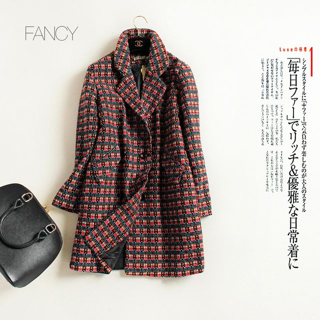 New Fashion High Quality Women Clothing Long Coats Autumn and Winter Thick Wool & Blends Plaid Jacket Coat Outwear
