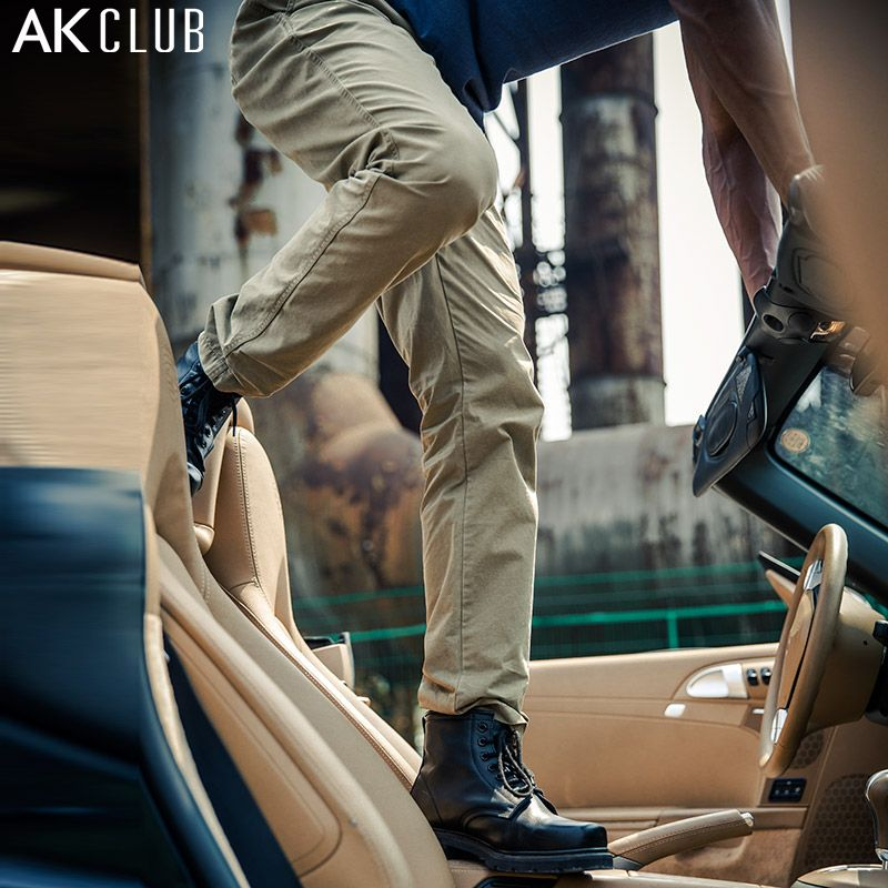 AK CLUB Brand Casual Pants Straight Full Length Trousers All-Match Design 100% Cotton Twill Fabric YKK Zipper Men Pants 1512047