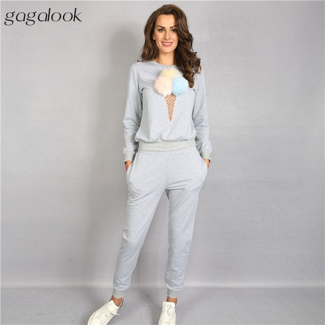 2016 Brand New Autumn Tracksuit Sweatsuit Set Track Suit Women Printed Hoodies and Pants Set Full Tight Slim Fashion 991