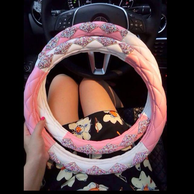 Crystal Rhinestone Steering Wheel Cover DAD JP Diamond Car Steering-Wheel Covers Auto Accessories For Women and Girls