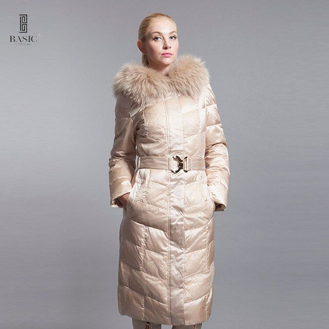 Basic Editions Winter Jacket Women Winter Coat Women Luxury Down Jackets Women Large Fur Hood Duck Down Long Jackets 12W-20