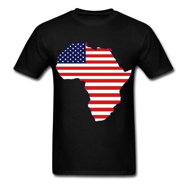 2017 New Hot Sale Fashion O-neck Broadcloth Cotton Tee4u Create Shirts Men Short-sleeve African American Continent Flag Tee