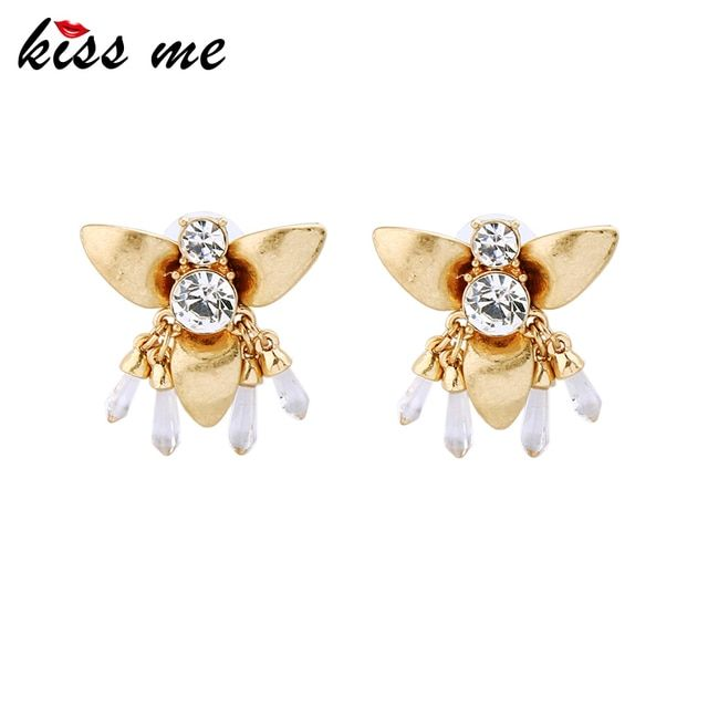 KISS ME Insect Jewelry New Alloy Crystal Bee Women Stud Earrings Fashion Jewelry Accessories