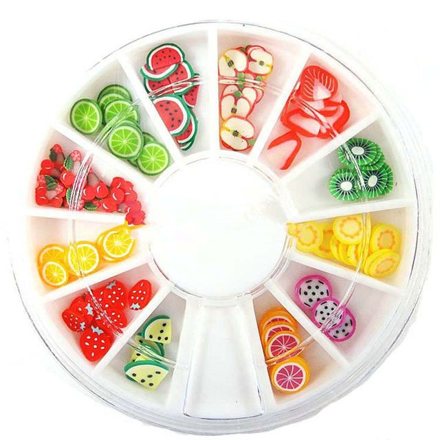 3D Polymer Clay Tiny Fimo Fruit slices Wheel Nail Art DIY Designs Wheel Nail Art Decorations Wholesale