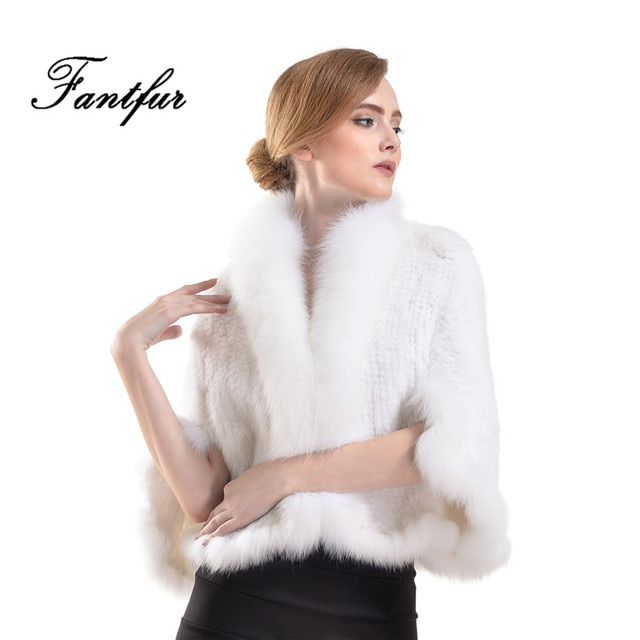 FANTFUR 2017 New Women Shawl Genuine Knitted Mink Fur Poncho With Fox Fur Winter Fashion Famle White Real Mink Fur Cape Coat