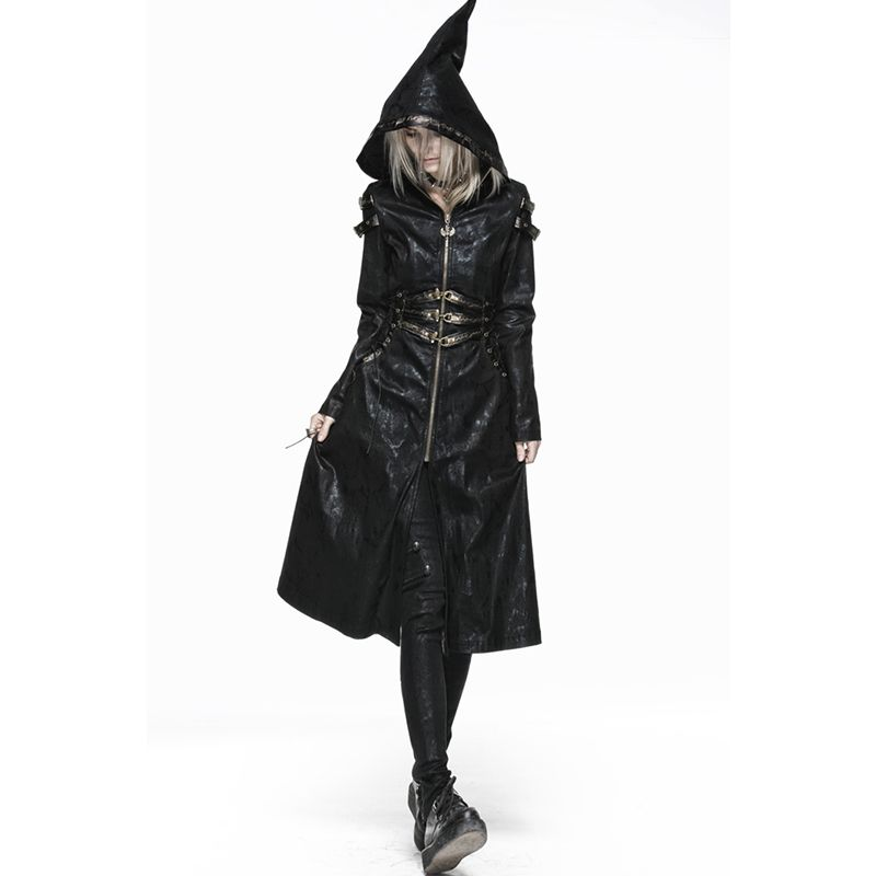 Steampunk Gothic Cool Hooded Coat And Jackets Female Long Sleeve Coat Middle Length Winebreaker Y-552 High Waist Wind Coat