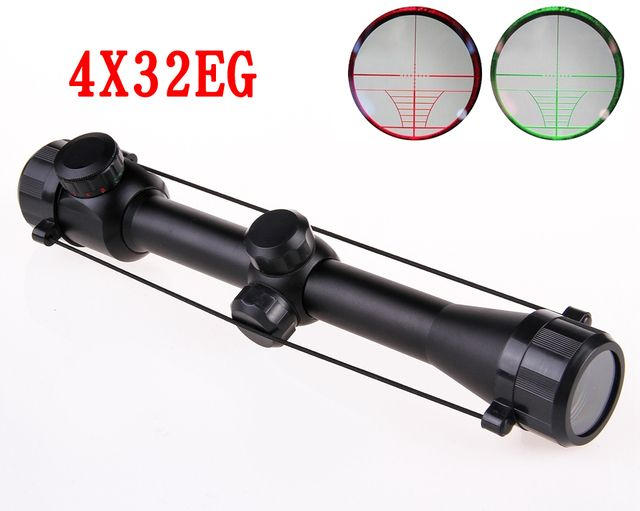 Tactical 4X32 Compact Riflescopes Sports Rangefinder Reticle Hunting Scopes With Adjustable Rail Mounts