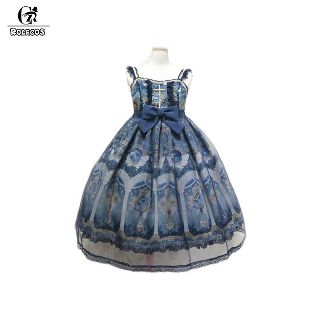 ROLECOS Brand New Japanese Sweet Princess Style Lolita Dresses Navy Blue Victorian Gothic Lolita Dress jsk
