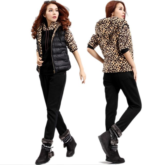 New2015Autumn Winter Three pcs set Casual sportswear leopard patchwork hooded sweatshirt +Vest+pants tracksuits plus size XXXXXL