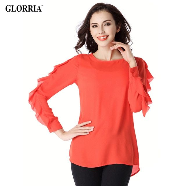 Glorria Women Lady Thin Chiffon Long Ruffles Sleeve Blouses Spring&Autumn Casual Fashion Work Red Shirts