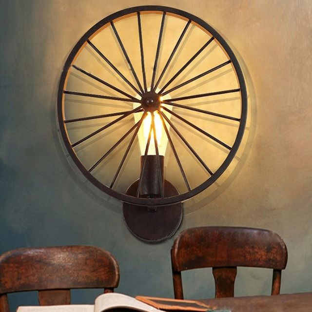Homestia New Industrail Vintage Iron Bicycle Wheel Wall Lamps Indoor Wall Lighting Fixture for Living Dinning Room Home Lighting