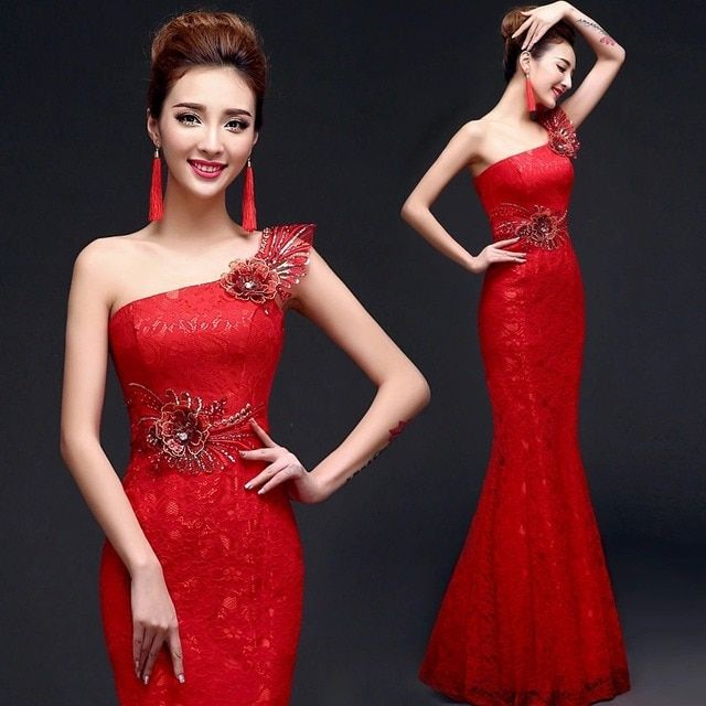 Chinese red women cheongsam dresses slash strapless mermaid applique long one shoulder sleeveless lace beautiful new arrival