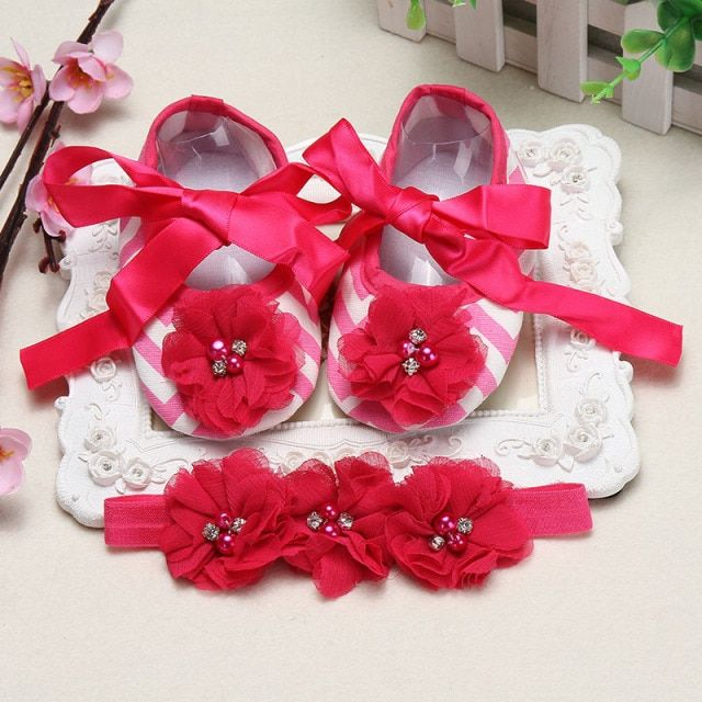 Baby girl flower Rhinestone pearl sapatinhos para bebes Slippers Ballerina Crib shoes baby Flower toddler bootskids accessories