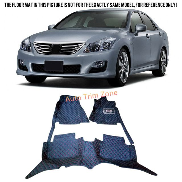Black Interior Leather Floor Mats & Carpets For Toyota Crown 2004 2005 2006 2007
