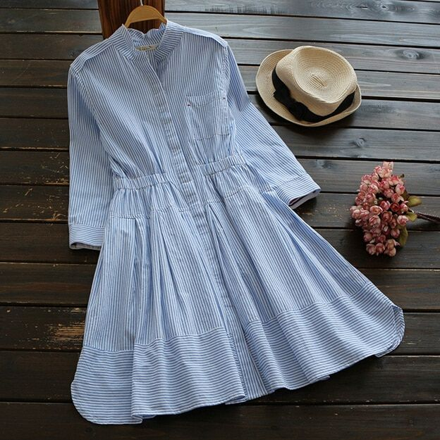 Blue and white stripes stand collar Three quarter sleeve mori girl  A-line  dress mori girl 2016 summer