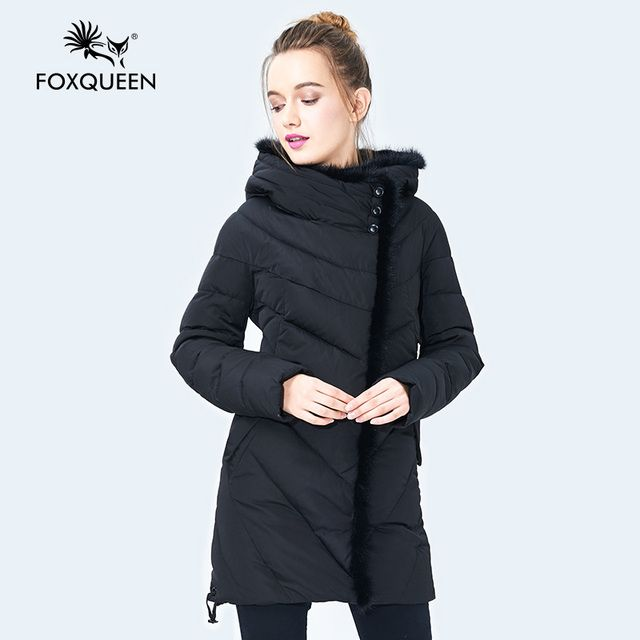 Foxqueen 2017 New Winter Women's Women Down Coat Thick Parka Female Hooded Mother Jacket Mink Fur Collar  High Quality