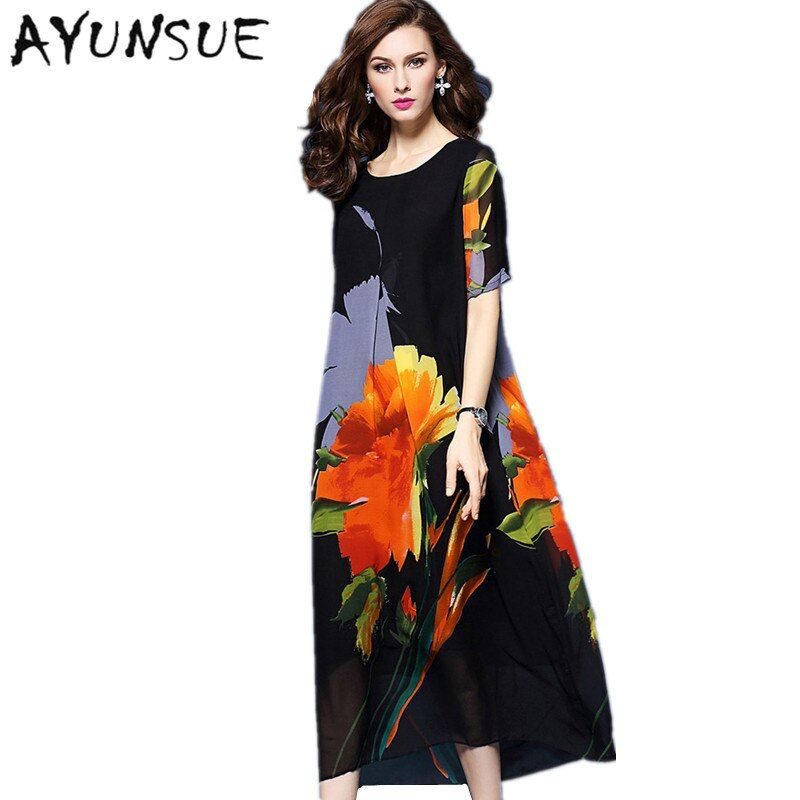 AYUNSUE Women Summer Dress 2019 Floral Chiffon Silk Beach Dress Elegant Vestidos Mujer  Maxi Dresses Long Robe Femme Boho FYY401