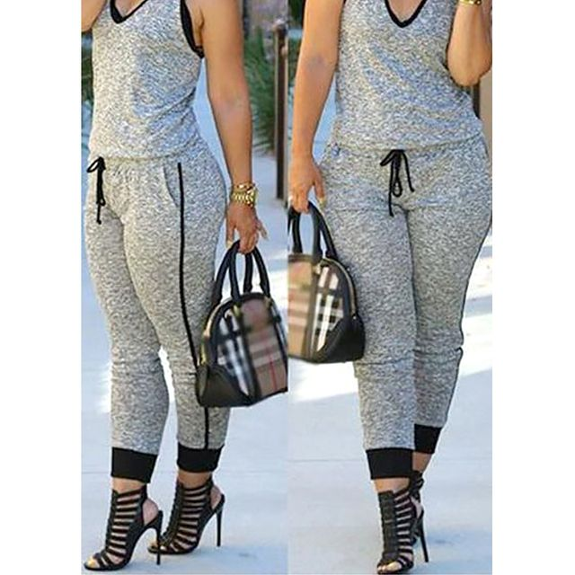 2016 Fashion Comfortable Long Playsuits Sexy Womens Overalls Bodycon Jumpsuits Grey Drawstring Waist V Neck Sleeveless Rompers