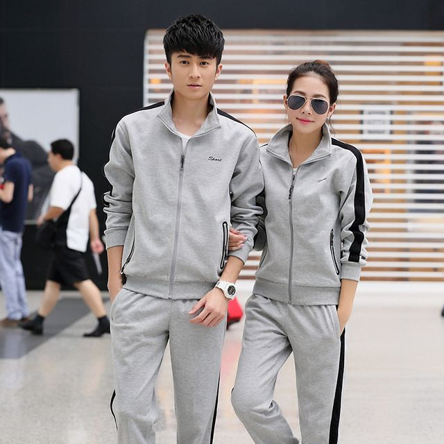 spring and autumn couples running sportswear stand collar long sleeves Outdoor climb mountains Pique-nique Morning Jogging suits