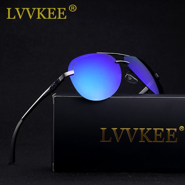 LVVKEE 2018 Brand Top quality Male Pilots HD Polarized Driver Mirror sunglasses Men/Women 64mm lens Polaroid Rimless sun glasses