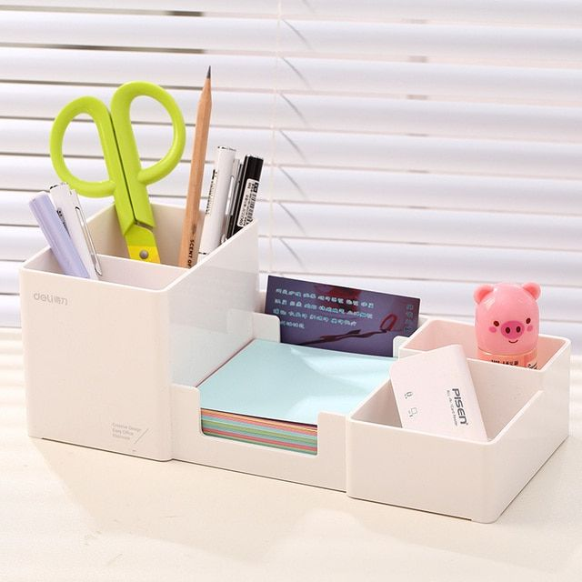 Pen holder desk new fashion multi-function Korean desk storage box office supplies stationery pen box plastic pens holder set