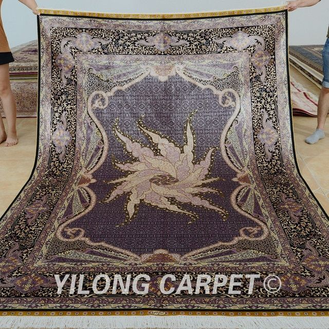 Yilong 6'x9' Antique hand knotted silk carpet rectangel Chinese oriental rug  (0294)